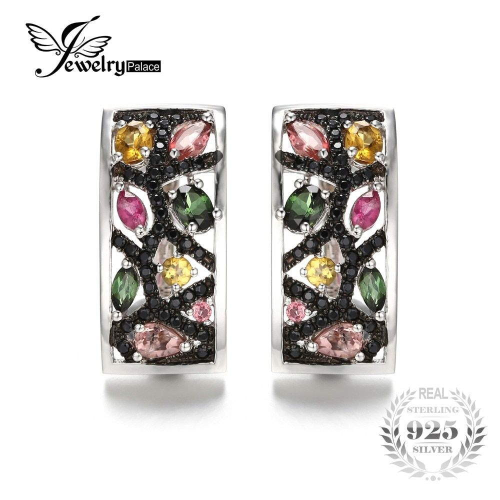 JewelryPalace Halloween 2.1ct Multicolor Genuine Tourmaline Black Spinel Earrings 925 Sterling Silver