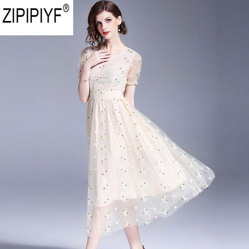 2018 New Fashion Summer Dress Elegant Women Mesh Embroidery Short Sleeve V-Neck High Waist Mid Calf A-Line Dress Vestidos C1124