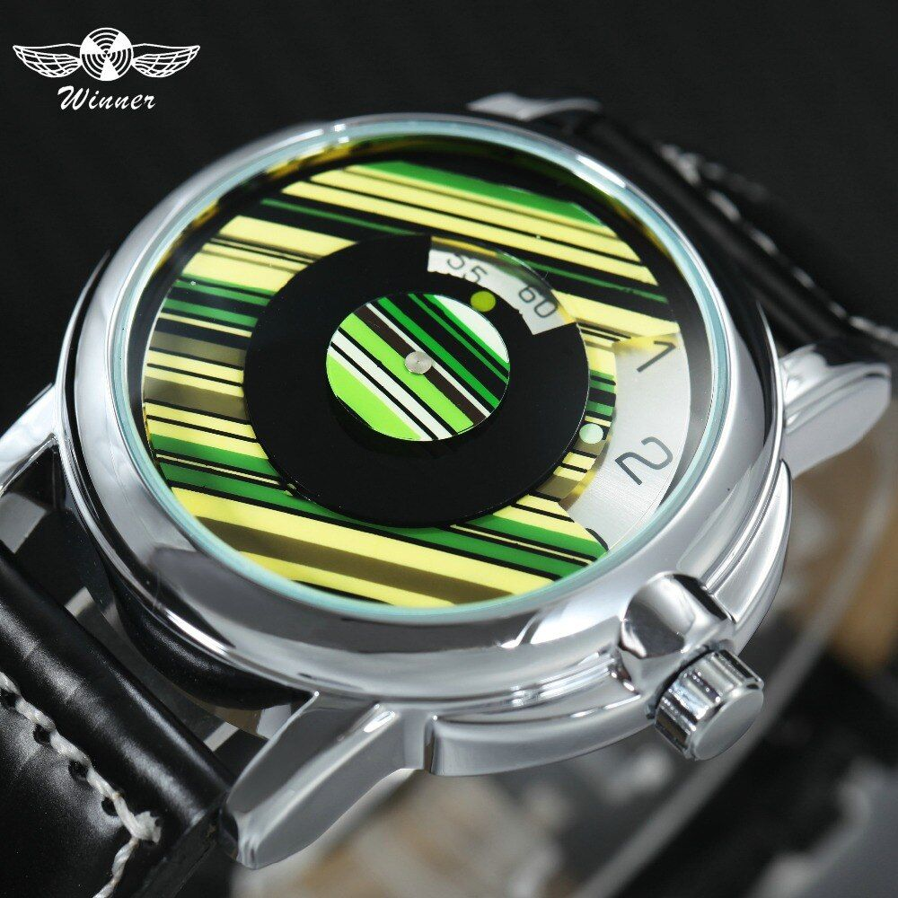WINNER Fashion Casual Auto Mechanical Watch Men Leather Strap Green Stripe Rotational Dial Top Brand Luxury Wrist Watches