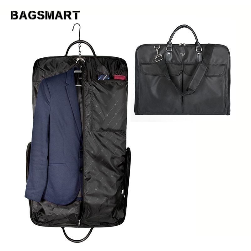 BAGSMART Waterproof Black Nylon Garment Bag With Handle Lightweight Suit Bag Business Men Travel Bags For Suits