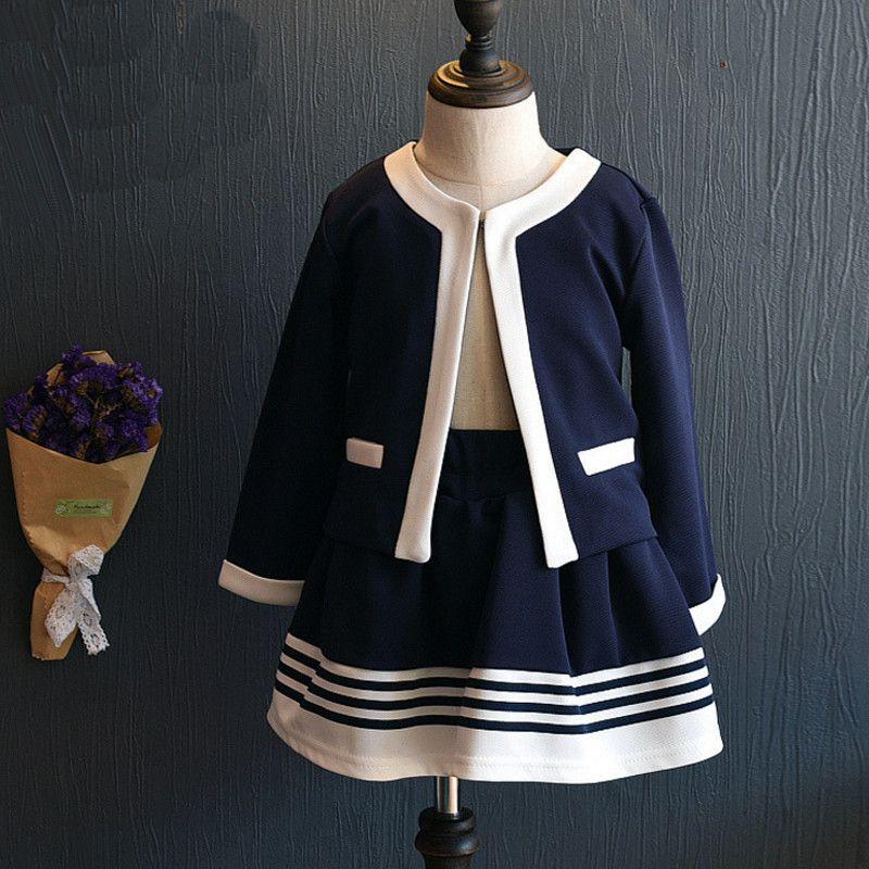 Nouveau automne enfants vêtements filles vêtements ensemble veste + jupes costumes enfants uniforme scolaire formel k1