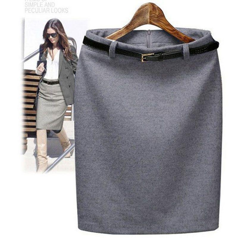 CWLSP S-3XL Plus Size Winter Autumn Wool Pencil Skirt Women's Formal OL Wear to work Medium-Length <font><b>High</b></font> Waist Skirt with Belt