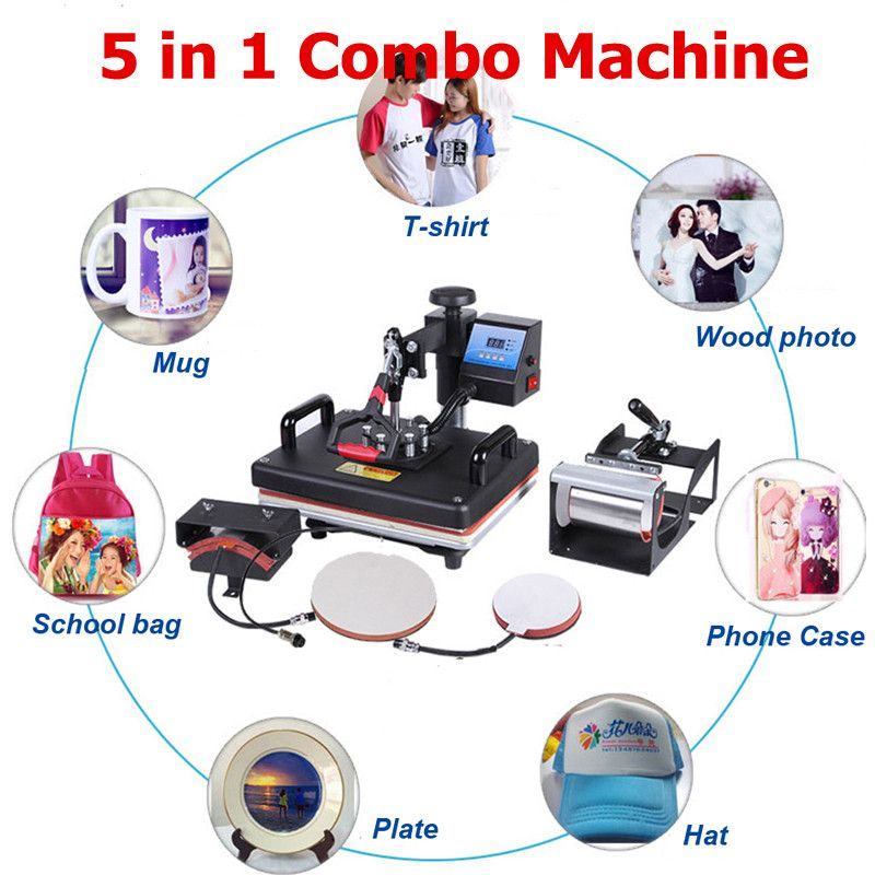Promotions 30*38 CM 5 in 1 Combo Hitze Presse Maschine 2D Sublimation Drucker Druckmaschine Tuch T-shirt Kappe becher Platten Fall