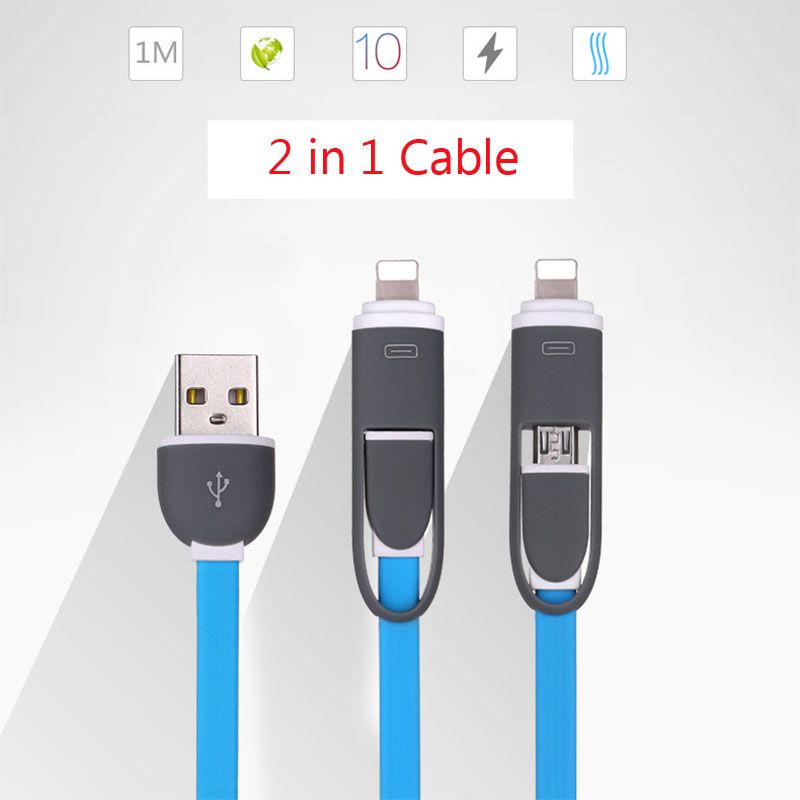 2 in 1 USB Cable For iPhone Micro USB Charging Mobile Phone Cables For iPhone X 8 7 6 6s 5 5s Android PhoneFor Xiaomi Huawei