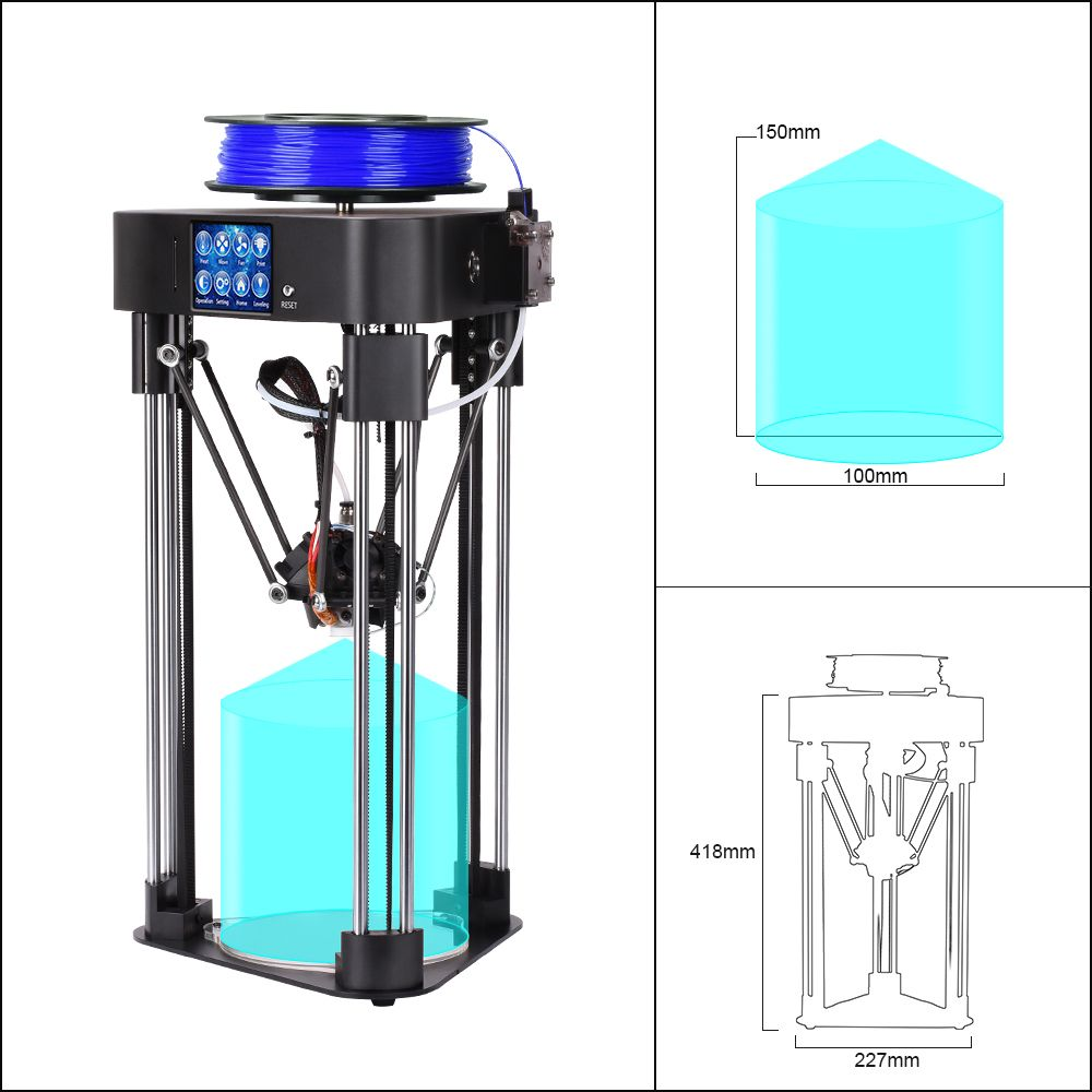 BIQU MAGICIAN full assembly delta 3D Printer desktop professional impresora with 32 bit 3d printer controller for school kids