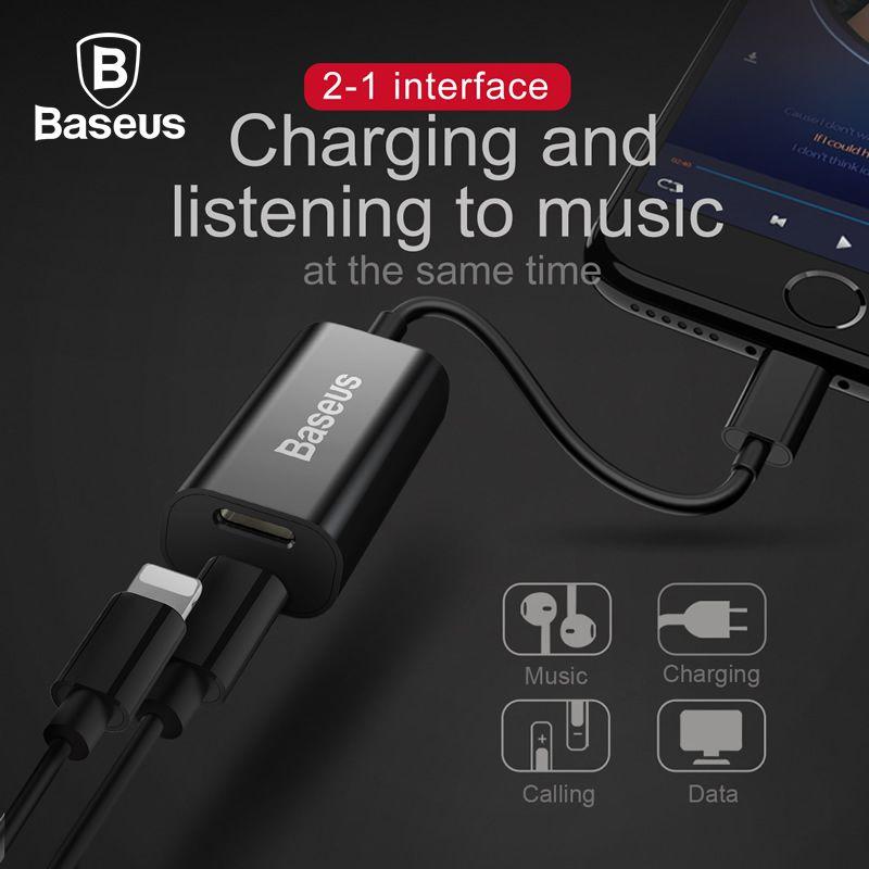 Baseus 2 en 1 Double 8pin Femme Casque Adaptateur Câble Pour iPhone X 8 7 6 6 s Plus Répartiteurs Data Sync Charge Aux Audio câble