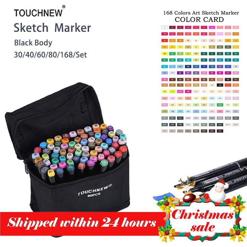 Touchnew 168 couleurs ensemble artiste double tête croquis marqueurs ensemble pour écologique fournitures scolaires marqueur marqueur conception marqueur