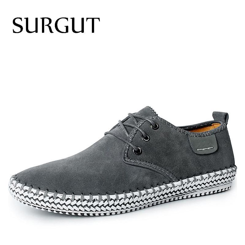 SURGUT Brand Minimalist <font><b>Design</b></font> 100% Genuine Suede Leather Mens Leisure Flat Brand Spring Formal Casual Dress Flat Oxford Shoes