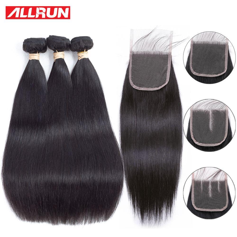 Allrun Cheveux Raides Bundles Avec Dentelle Fermeture Extension de Cheveux 2/3 Bundles Offre Humains Brésiliens Faisceaux D'armure de Cheveux Avec Fermeture