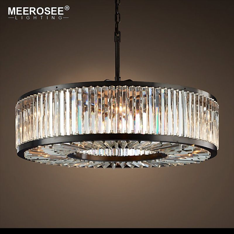 Modern Crystal Chandelier Light Minimalist Creative Hollow Round Chandelier Lamp Fixture Vintage Style for Household Living Room