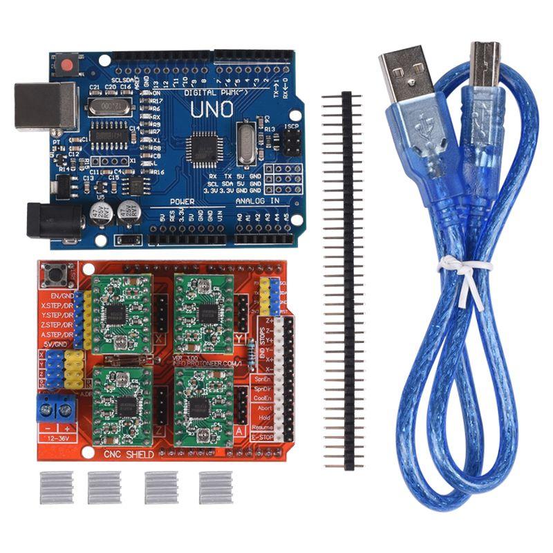 CNC Bouclier Carte D'extension V3.0 + UNO Conseil R3 avec usb pour Arduino + 4 pcs Moteur pas à pas Pilote A4988 avec Radiateur Kits pour Arduino
