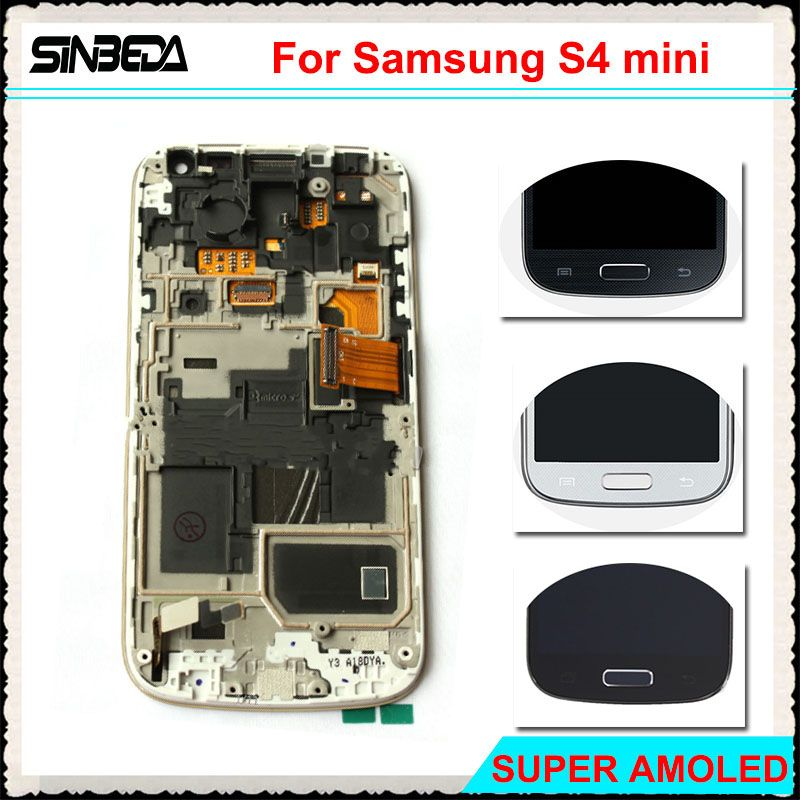 Sinbeda Super AMOLED LCD Screen Display For Samsung Galaxy S4 Mini I9190 i9192 i9195 Touch Screen Digitizer Assembly With Frame