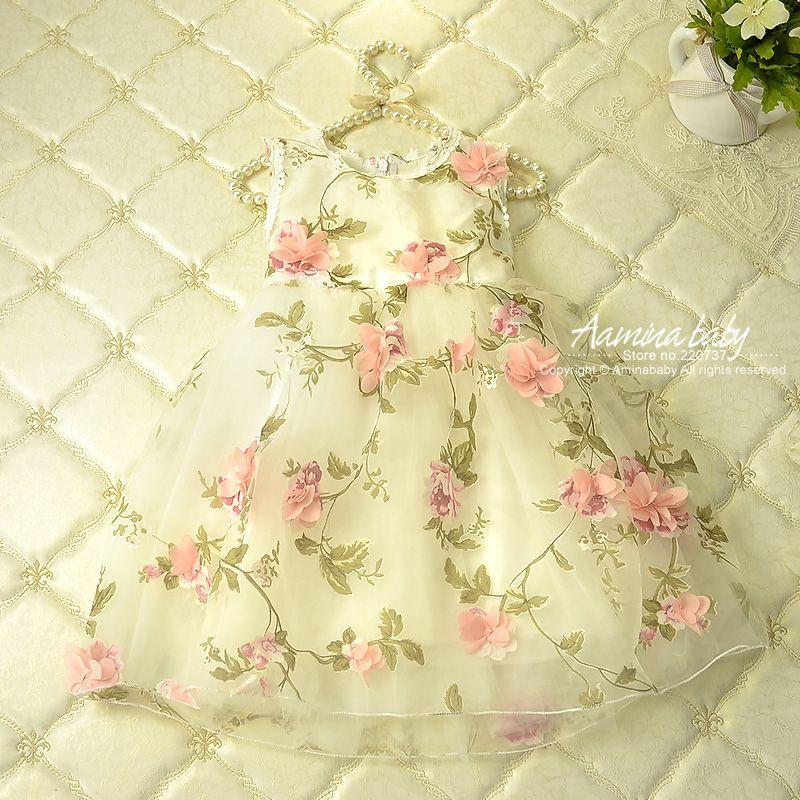 Fleur Affiches Pétale Bébé Filles Robes D'été Tutu Princesse vêtement fille Pour Les Filles, vêtement pour enfants tenue de fête vêtements de filles