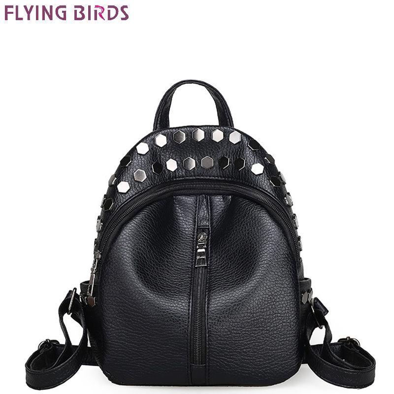 FLYING BIRDS rivet Mochila mini women backpack leather backpacks teenage school bags female travel bag high quality designer bag