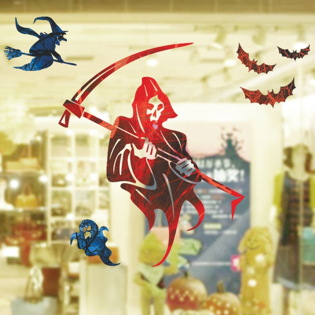 Top Sale  Grim Reaper Halloween Death Scythe Witch Wall Sticker Window Living Room Bedroom wall sticker DIY wallpaper home Decor