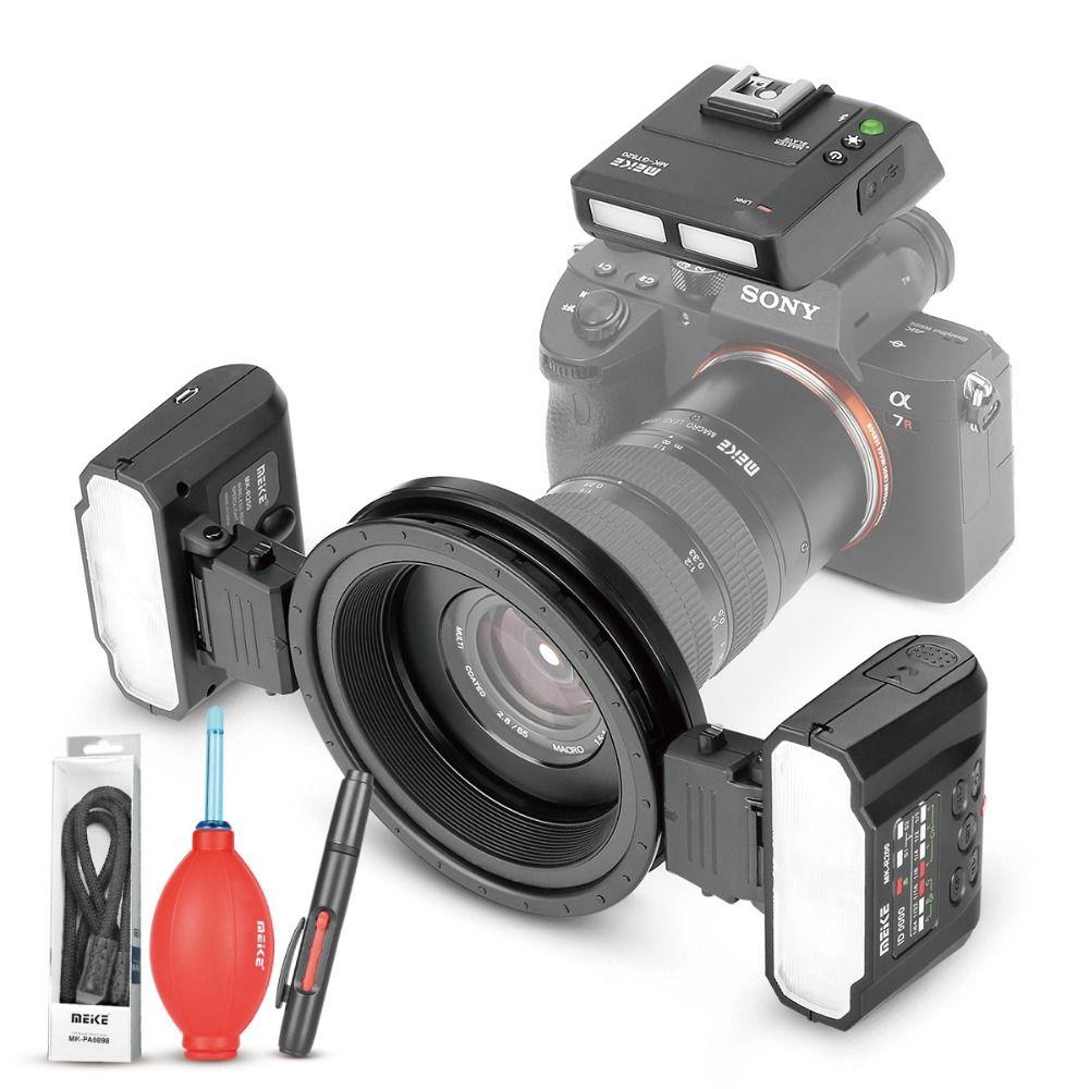 MEKE Meike MK-MT24 Macro Twin Lite Flash für Sony Alpha A7R A7S A7II A7RII A5000 A5100 A6000 A6300 A6500 Spiegellose kameras + GESCHENK