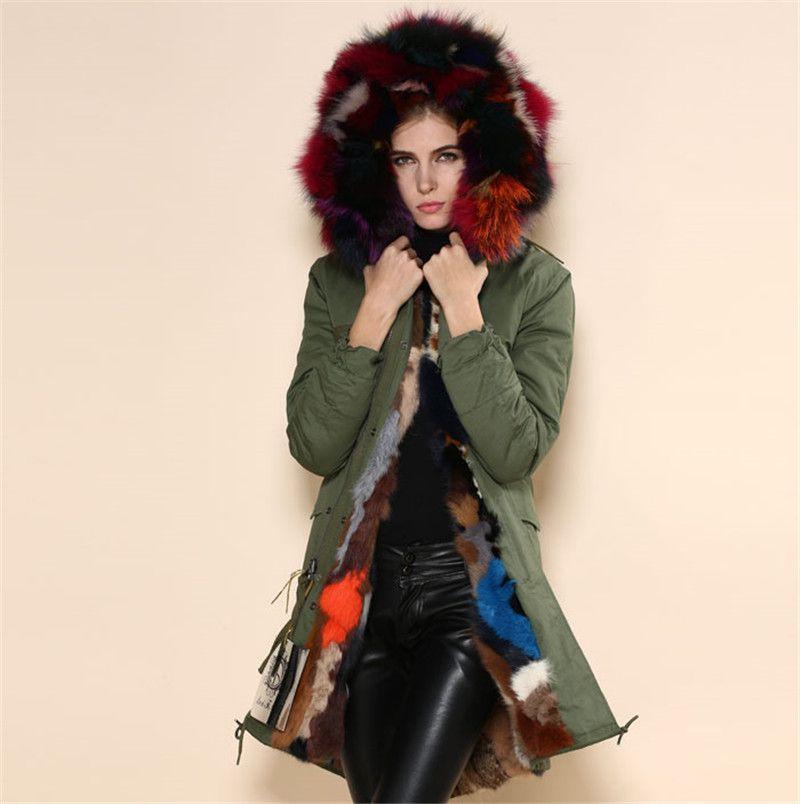 Италия длинная стильная Multi зимние теплые куртки mr Mrs мех натуральный кроличий мех парка большой меховой воротник пальто