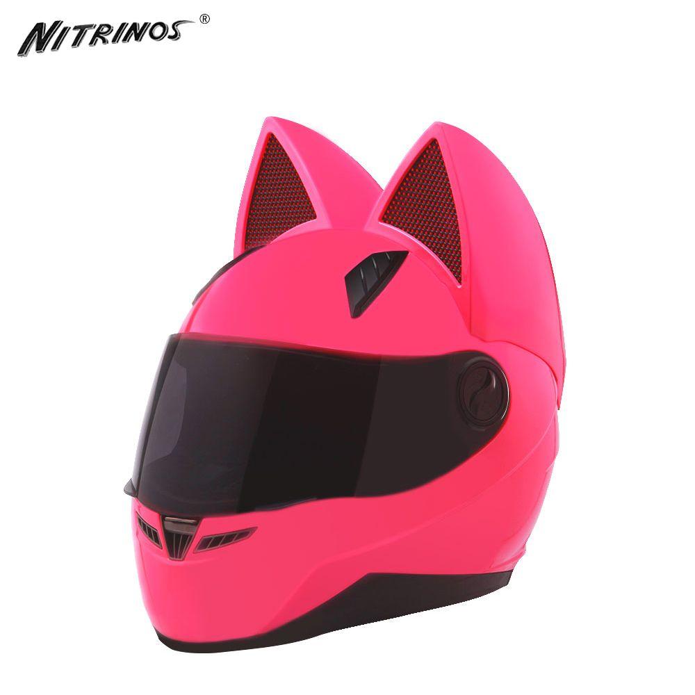 NITRINOS Moto Casque Femmes Moto Casque Moto Oreille Casque Personnalité Casque Intégral Moteur face 4 Couleurs Rose Jaune Noir Blanc