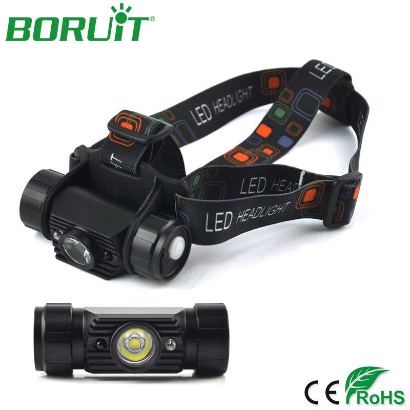 BORUiT 800lm 3 w Mini IR Capteur Phare Induction USB Rechargeable Lanterna LED Projecteur lampe de Poche Tête de La Torche 18650 Batterie