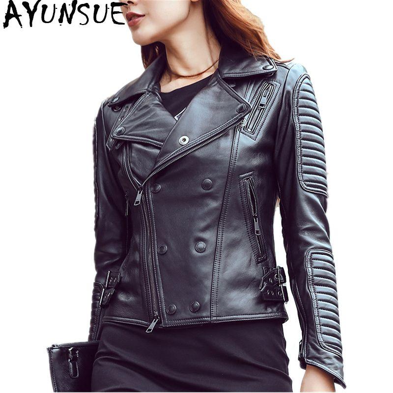 AYUNSUE Genuine Leather Jacket Women 2018 Sheepskin Leather Coat Female Slim Motorcycle Jackets Spring Autumn Outerwear WYQ794
