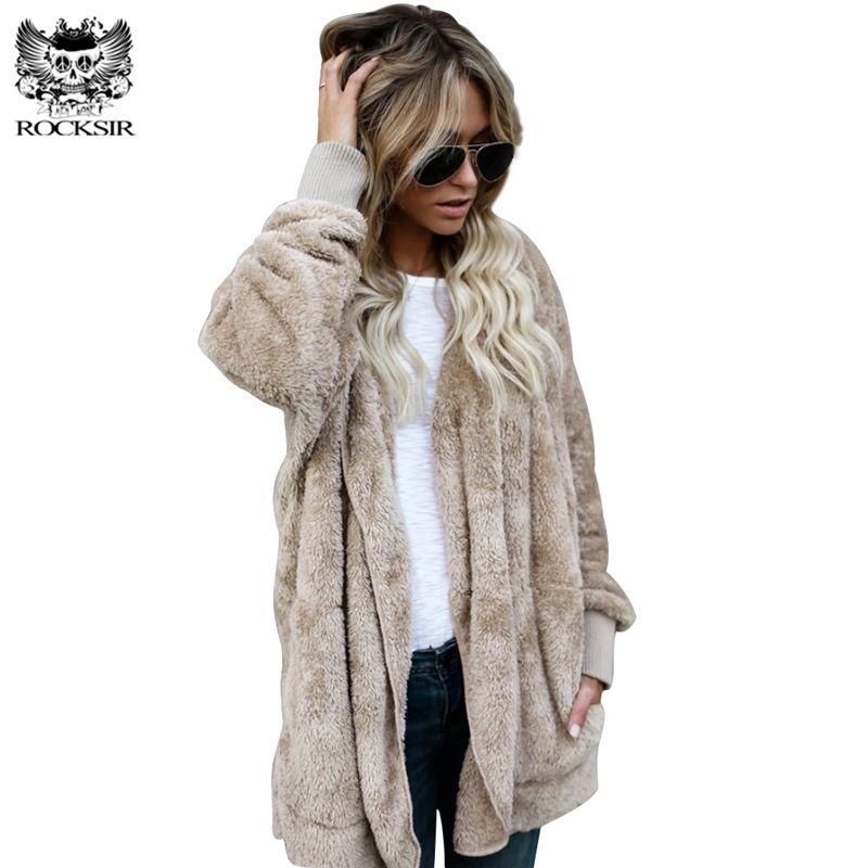 Rocksir las mujeres fuzzy chaqueta abrigo 2017 invierno abierto de punto con capucha cardigan Abrigos señoras casual bolsillos outwears