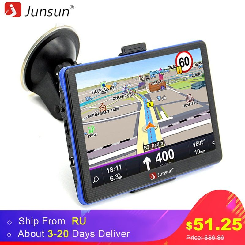 Junsun 7 inch HD Capacitive Car GPS Navigation 8GB MP3/MP4 FM Russia map Permanent free update navigators