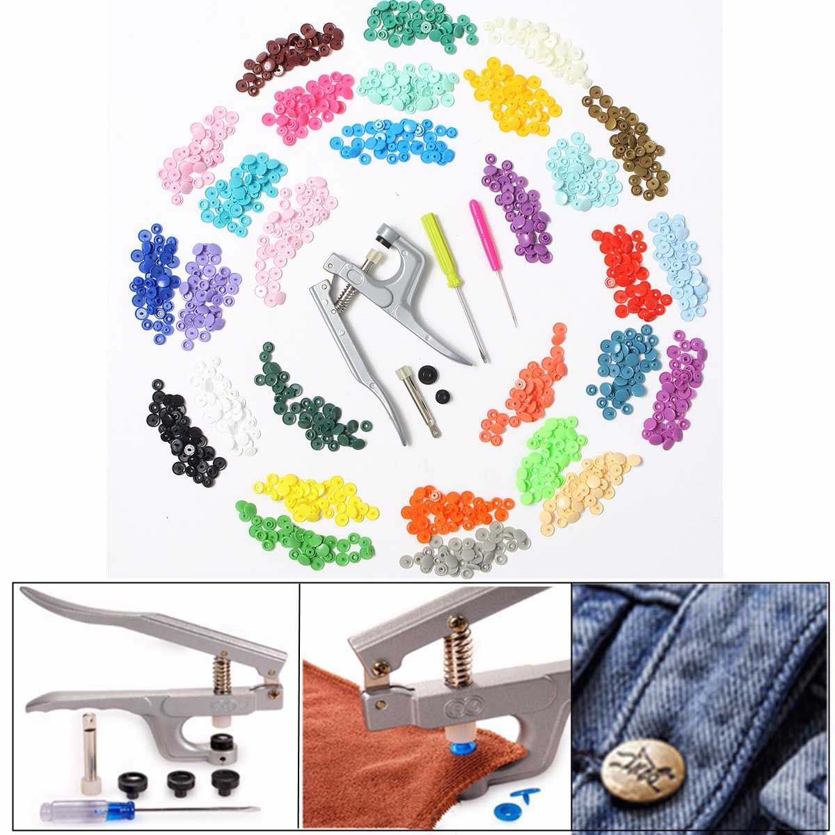 300 pieces 10 <font><b>Colors</b></font> KAM Snaps T5 Snap Starter Plastic Poppers Fasteners +1 Pliers for Sewing Handmade DIY Cloth Suplies
