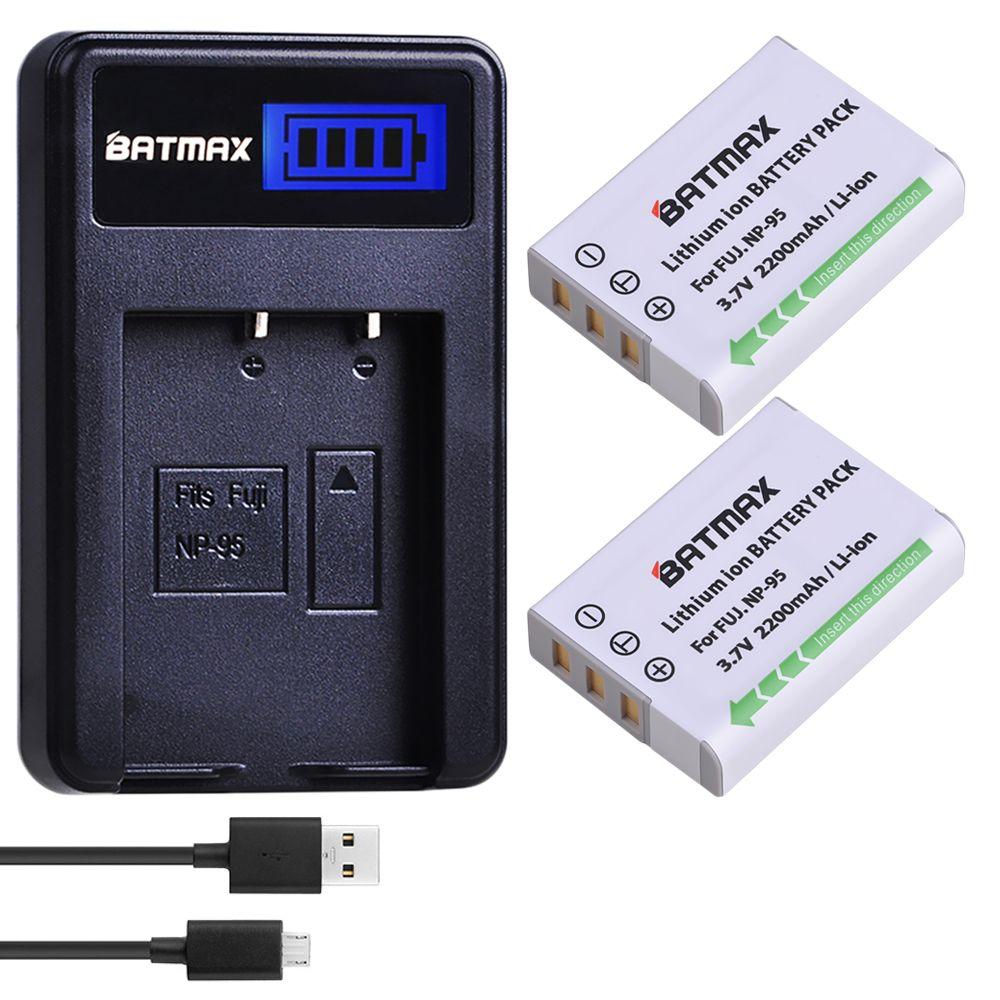 2 stück 2200 mah NP-95 NP 95 NP95 Batterie + LCD USB Ladegerät für FUJIFILM NP-95 F30 F31 F30fd F31fd 3D W1 X100T X100S X100 X-S1 3DW1