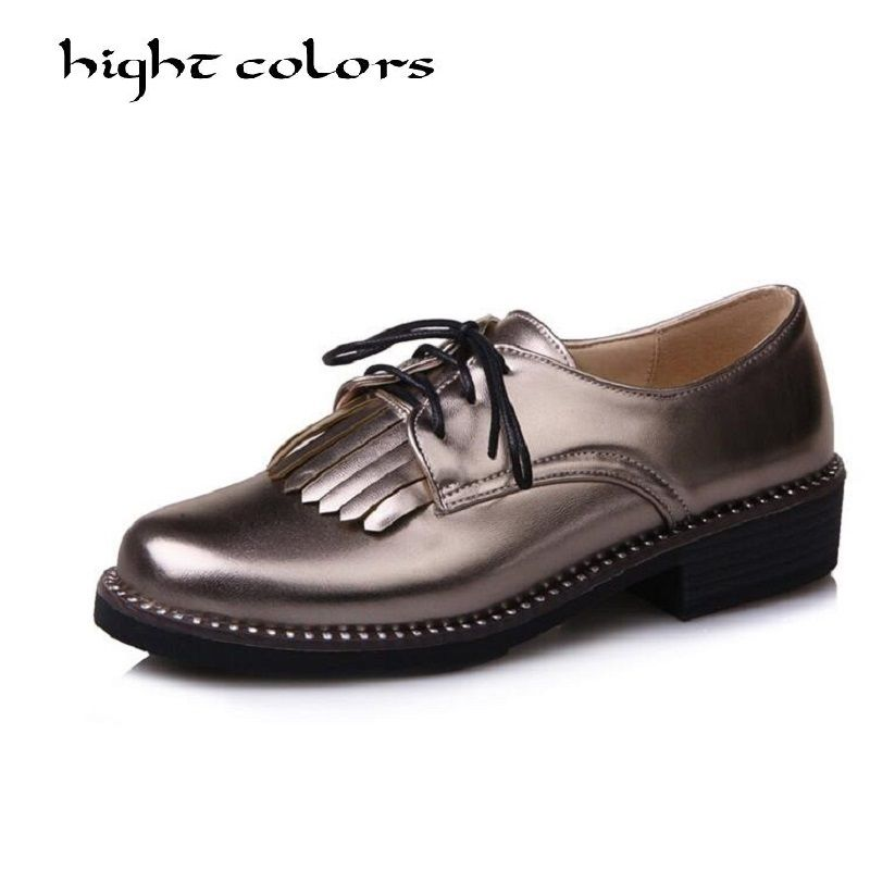 Size 34-43 Fashion England Style Multicolor Oxfords For Women New Ladies Casual Lace Up Brogue Oxford Shoes Women Flat Shoes