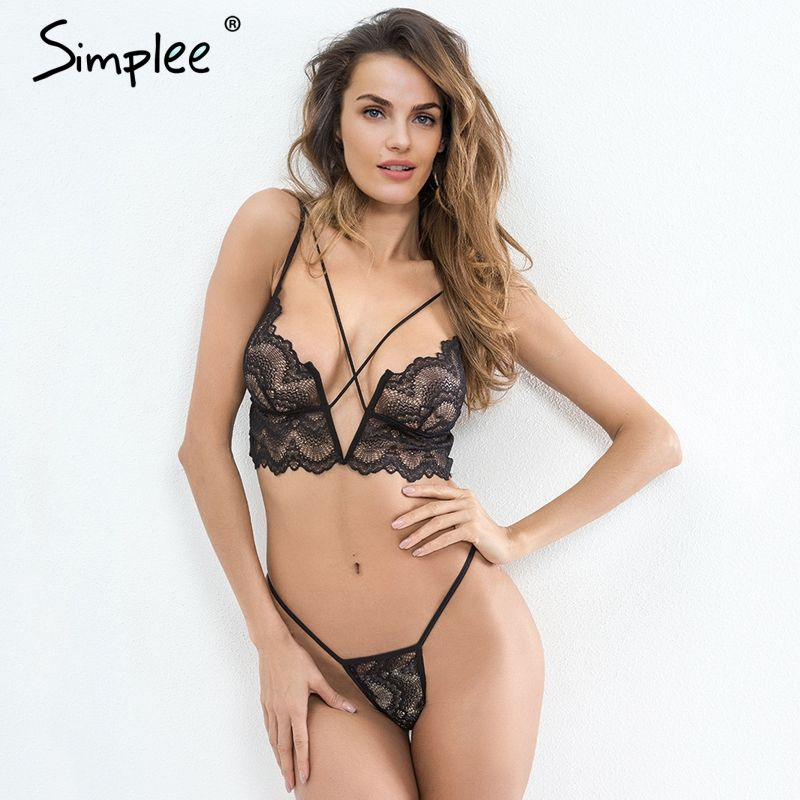 Simplee Sexy transparent intimates bra sets Adjustable strap lace bra women lingerie Victoria bralette set underwear female
