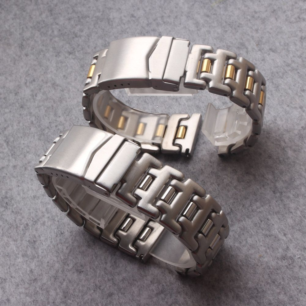 Watchband strap Stainless Steel Watch bands 18mm 20mm Silver and Gold Bracelet with Insurance buckle Clasp for brand mens Watch