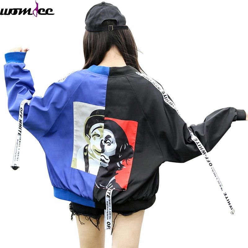 2017 Autumn Bomber Jacket Women Men couple Long Sleeve Basic Coats Casual Thin loose Outerwear Korean  Hip hop Bomber Jackets