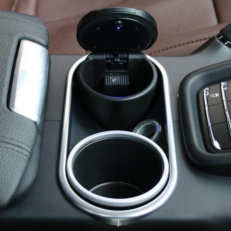 Car Ash Tray Ashtray Storage Cup With LED For Land Rover LR4 LR3 LR2 Range Rover Evoque Defender Discovery Freelander