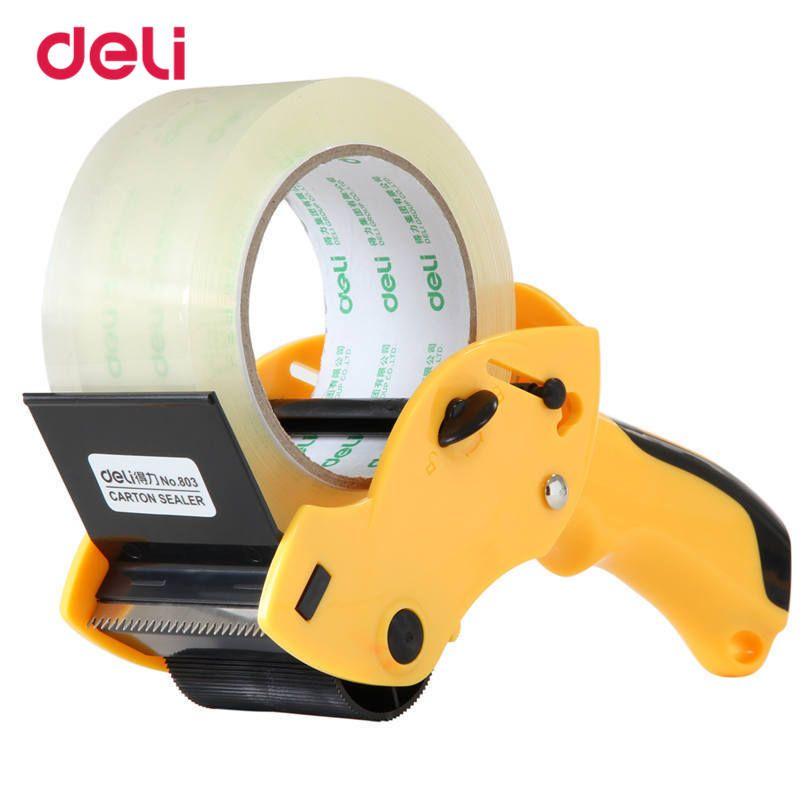 Deli 60mm ancho Paquetes adhesivo Cintas sellado adhesivo Cintas cortador dispensador manual práctico Oficina Cintas cortador