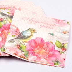 20pcs Table napkins paper tissue printed flower rose bird servilletas decoupage vintage pink wedding birthday party decoration