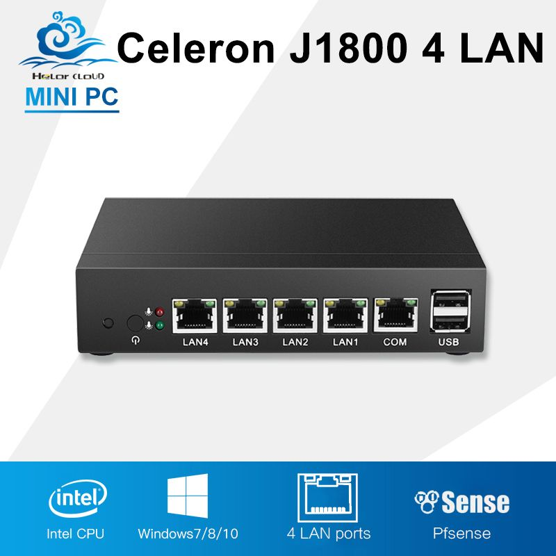 Mini PC Intel Celeron J1800 Informatique Industrielle 4 Gigabit LAN Routeur Pare-Feu Sans Ventilateur Windows 10 Linux Un Computador De Bureau