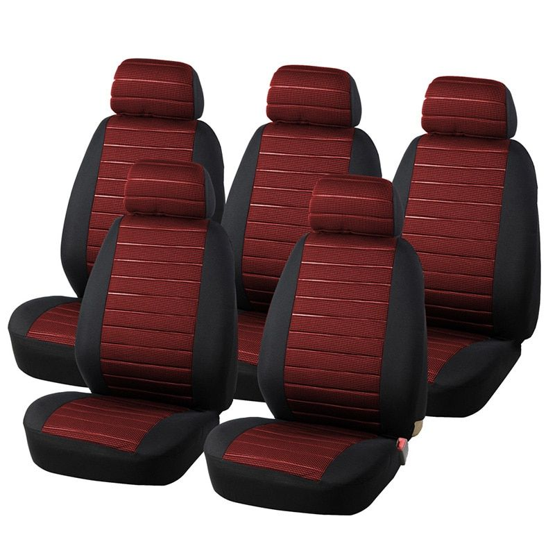 5 Seats Red Seat Covers Airbag Compatible, 5MM Foam Checkered Universal Fit Most Vans, Minibus Interior Accessories