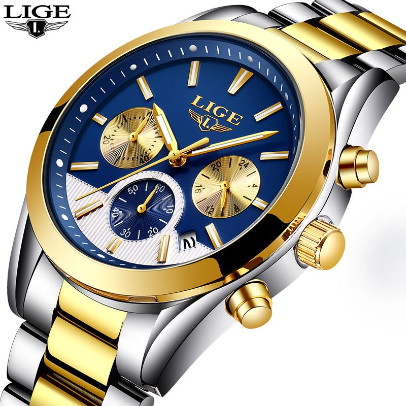 LIGE Mens Watches Brand Luxury Watch Men Fashion Business Quartz Waterproof Full steel Sports Gold Wrist Watch Relogio Masculino