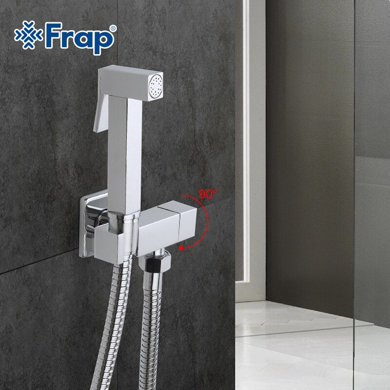 Frap 1 Set Solid Brass Single Cold Water Corner Valve Bidet Function square Hand Shower Head Tap <font><b>Crane</b></font> 90 Degree Switch F7502