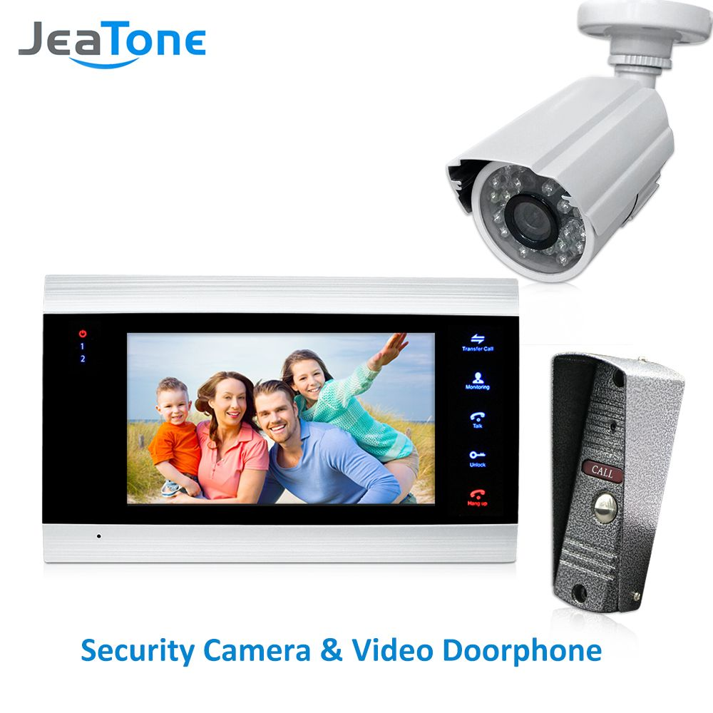 JeaTone 4 Verdrahtete Videotürtelefon-gegensprechanlage Türklingel Home Security System Tür Anruf Panel + 7 zoll Monitor + 1200TVL Kamera