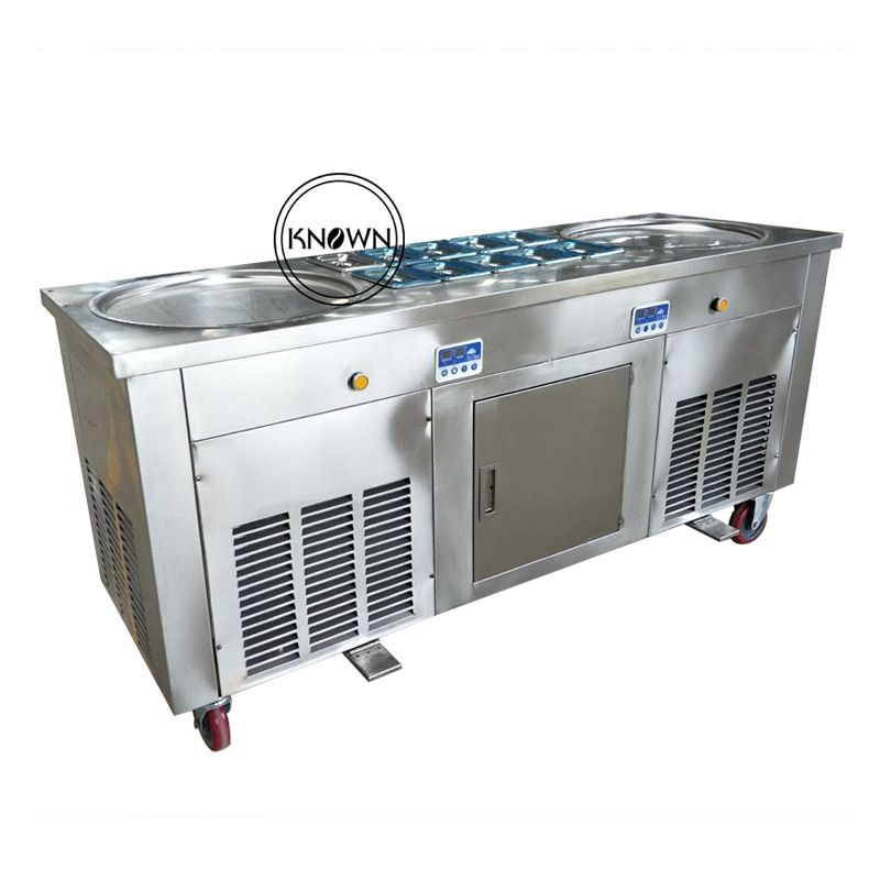 CE Certified Double round pans roll Fried/fry Ice Cream Maker/making roller/roll/rolled machine (free shipping by sea)