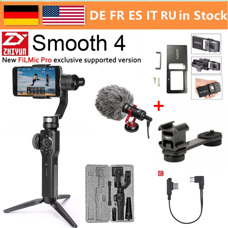 Zhiyun Smooth 4 3-Axis Handheld Smartphone Gimbal Stabilizer for iPhone XS Max XR X 8Plus 8 7P7 Samsung S9 S8 S7 & Action Camera