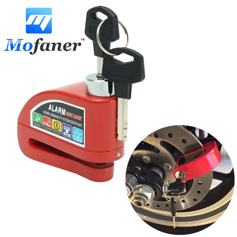 Mofaner Red Metal Motorcycle Scooter Security Anti-theft Wheel Disc Brake Lock Alarm Kit