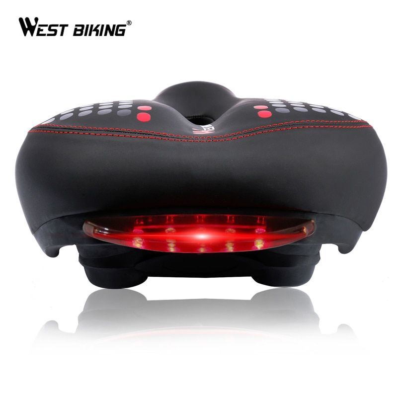 WEST BIKING Bicycle Saddle with Tail Light Thicken Widen MTB Bike Saddles Soft Comfortable Bike Hollow Cycling Bicycle Saddle