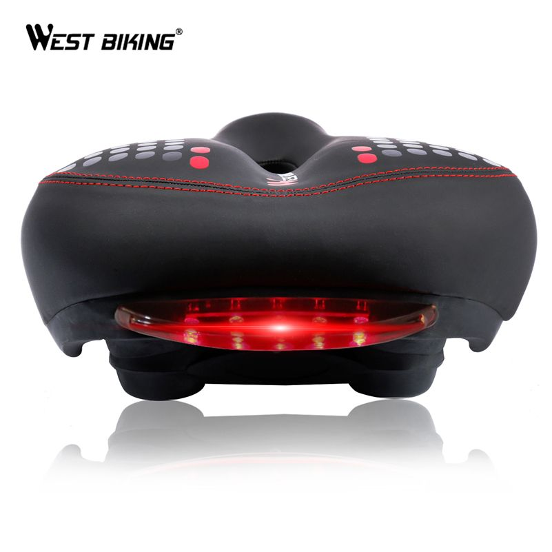 WEST BIKING Bicycle Saddle with <font><b>Tail</b></font> Light Thicken Widen MTB Bike Saddles Soft Comfortable Bike Hollow Cycling Bicycle Saddle