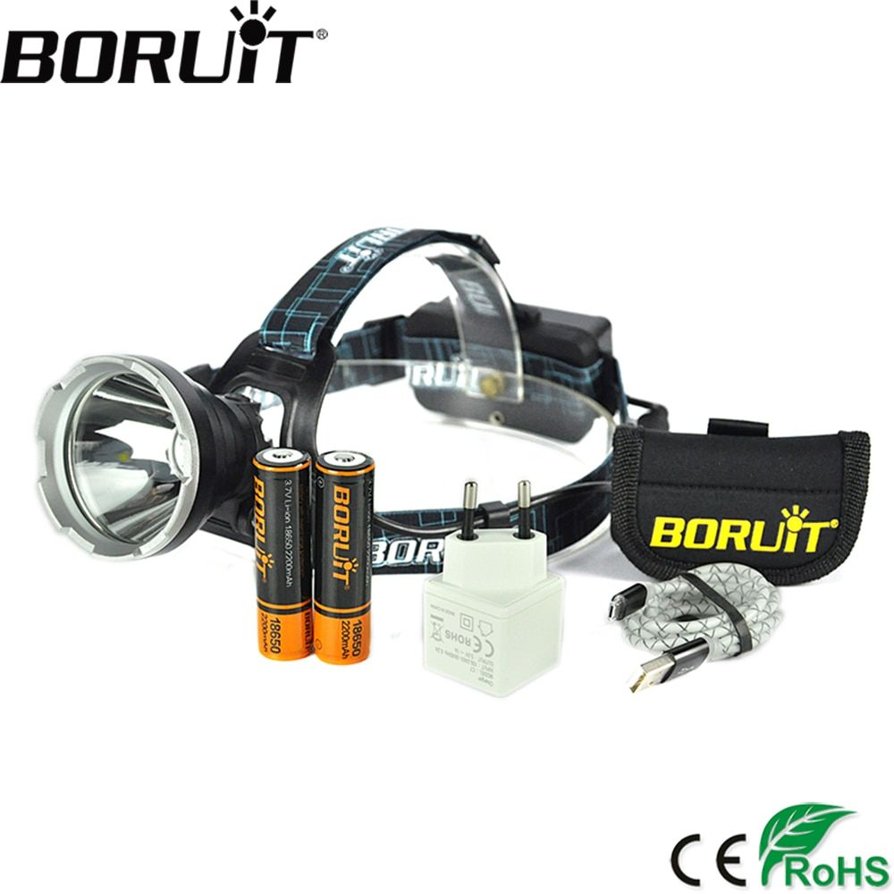 BORUIT B10 3800LM XM-L2 LED Phare 3-Mode Chasse Étanche Phare Micro USB Rechargeable Frontale Tête Lampe Torche Lumière