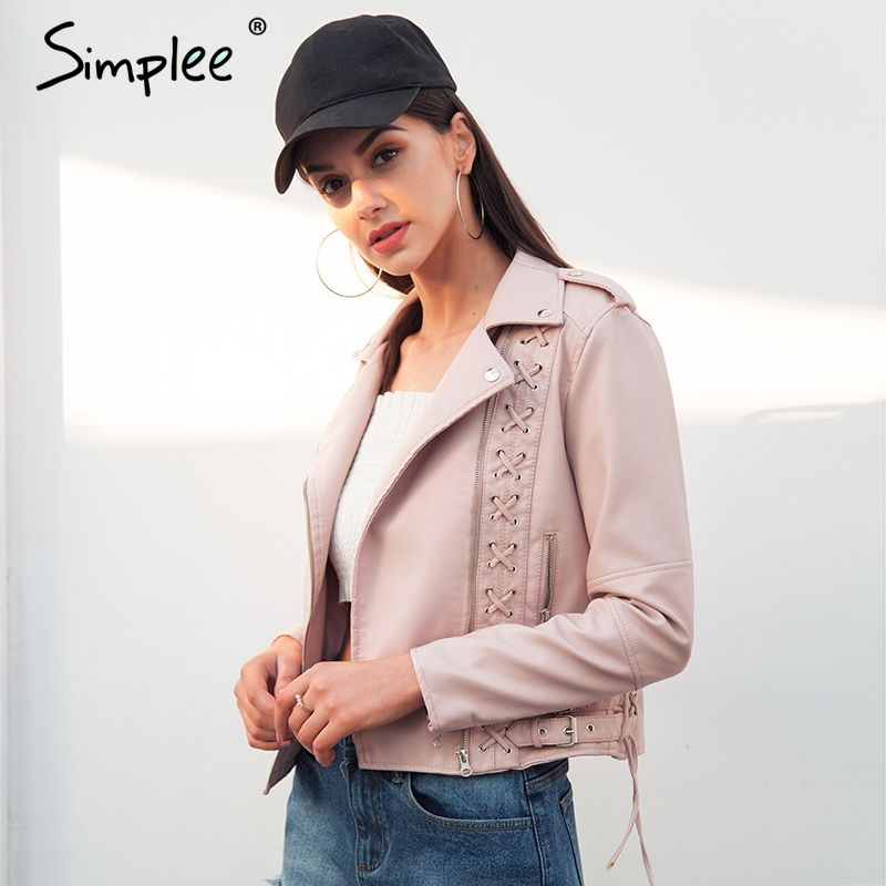 Simplee Lace up PU leather jacket women Cool motorcycle faux leather coat 2018 New fashion biker jacket outerwear