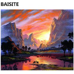 BAISITE Бескаркасный конструктор «сделай сам» картины маслом по номерам на холсте настенные картины на стену для гостиной украшения дома 977