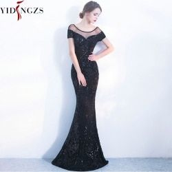 YIDINGZS Elegant Backless Long Evening Dresses Simple Black Sequins Evening Party Dress YD100