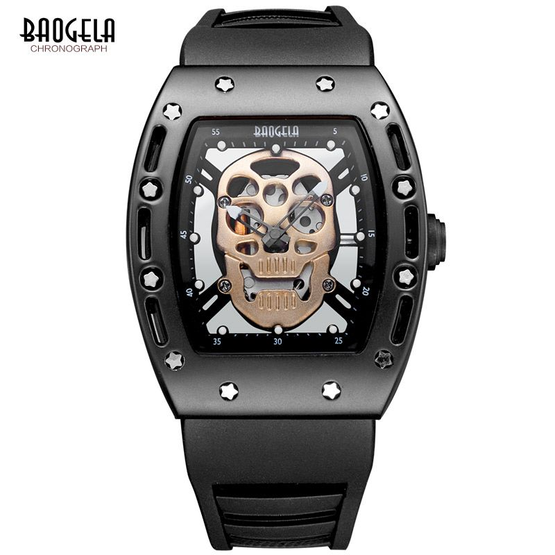 Baogela Fashion Mens Skeleton Skull Luminous Quartz Watches Military Style Black Silicone Rectangle Dial Wristwatch for Man1612